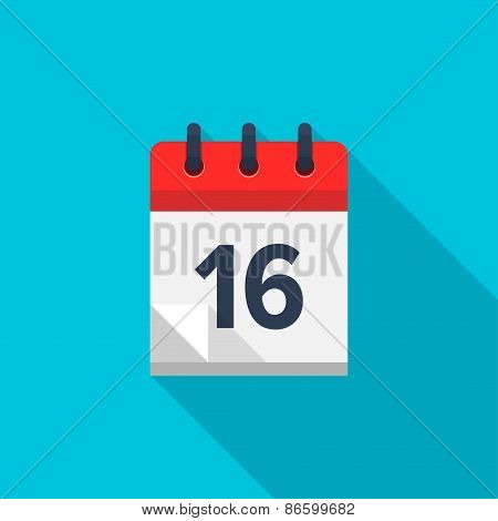 Flat calendar icon. Date and time background. Number 16
