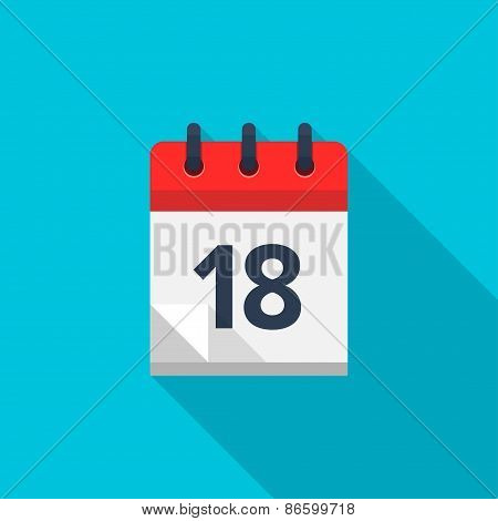 Flat calendar icon. Date and time background. Number 18
