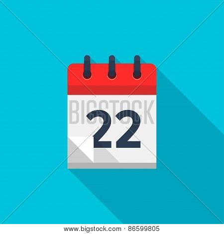 Flat calendar icon. Date and time background. Number 22