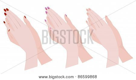 Hands With Various Manicure