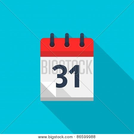 Flat calendar icon. Date and time background. Number 31