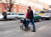 picture of zebra crossing  - Busy city street people on zebra crossing - JPG