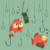 Постер, плакат: Cartoon vector concept Fishing Finances Business risks Banks Credits and deposits