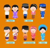 foto of national costume  - Vector of Five Asian national costumes - JPG