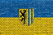 pic of leipzig  - flag of Leipzig painted on brick wall - JPG