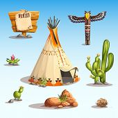 image of wigwams  - set of vector images of Wild West items - JPG