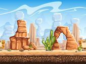 picture of tipi  - vector background uof Wild West scenery - JPG