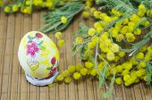 pic of mimosa  - Hand painted decoupage Easter egg and mimosa flowers