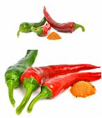 pic of cayenne pepper  - Three cayenne chili peppers isolated on the white background - JPG