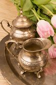 pic of pompous  - antik table set with pink tulips on a table - JPG