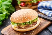 foto of burger  - Chicken burger with pickles - JPG