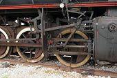 foto of steam  - Old black steam locomotive - JPG