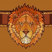 stock photo of lions-head  - Lion head with ethnic ornament - JPG