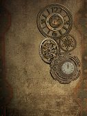 stock photo of steampunk  - steampunk wall with clock and metal wall - JPG