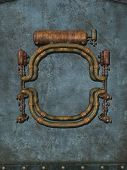 picture of steampunk  - steampunk paper with metal wall and artefact - JPG