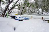 picture of ski boat  - a snow covered kayak jet - JPG