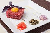 image of yolk  - tartar of beef with egg yolk - JPG