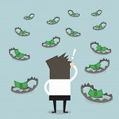 image of trap  - Businessman look at money on trap vector - JPG