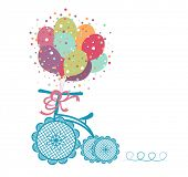 foto of tricycle  - Tricycle with celebration balloons  - JPG