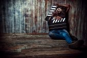 stock photo of zombie  - Filming a horror movie - JPG