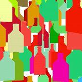 foto of bottles  - Background with bottles seamless  - JPG