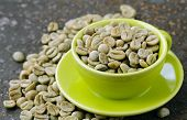 foto of green bean  - organic green coffee beans close-up, healthy food
