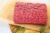 image of ground-beef  - Fresh ground beef is ready for cooking meat dishes. ** Note: Shallow depth of field - JPG