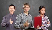 image of job well done  - Team and man with laptop in his hands and woman shows well done - JPG