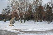 image of pagan  - Pagan carved stones in bright winter day Chernihiv Ukraine  - JPG