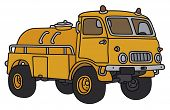 image of tank truck  - Hand drawing of an old orange small terrain tank truck  - JPG