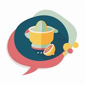 image of juicer  - Kitchenware Juicer Flat Icon With Long Shadow - JPG