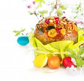 pic of pasqua  - Easter Cake and colorful painted Eggs - JPG