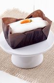 picture of cake stand  - carrot cake with icing on a small cake stand - JPG