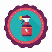 picture of flea  - Pet Flea Spray Flat Icon With Long Shadow - JPG