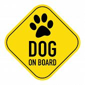 stock photo of paws  - paw silhouette illustration on yellow placard signshowing the words paw on board isolated on white background - JPG