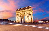 picture of charles de gaulle  - Paris Arc de Triumph France at sunrise - JPG