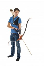 image of longbow  - Boy with blue shirt and jeans holding a longbow - JPG