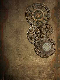 picture of steampunk  - steampunk wall with clock and metal wall - JPG