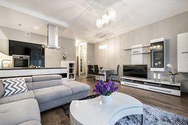 foto of light fixture  - Kitchen and living area in luxury home in scandinavian style - JPG
