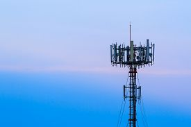 stock photo of antenna  - Close up Mobile phone Telecommunication Radio antenna Tower - JPG