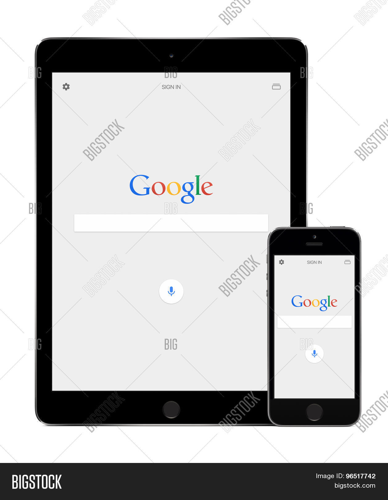 google search app on the apple ipad air 2 and iphone 5s displays stock photo stock images. Black Bedroom Furniture Sets. Home Design Ideas