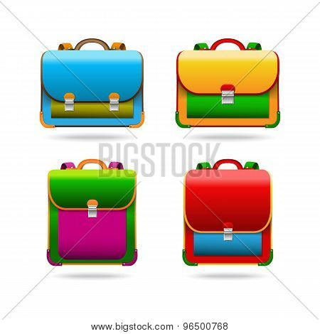 Set Of School Bags In Four Different Versions