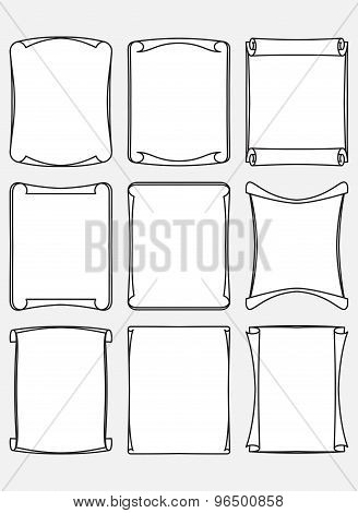 Set Of Nine Unusual Decorative Stylized Frames With Swirl Edges