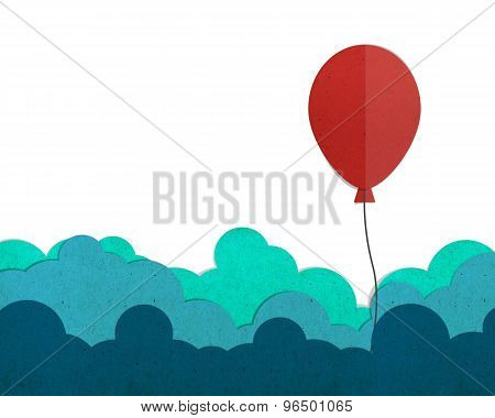 Red Balloon Flying On A Cloud.