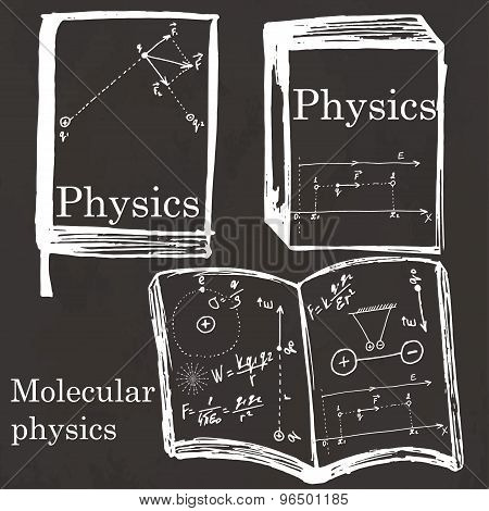 Set Of Physics Textbook, Workbook On School Board.