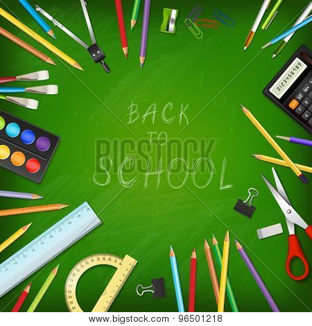 Back To School Background With Supplies Tools On Board.