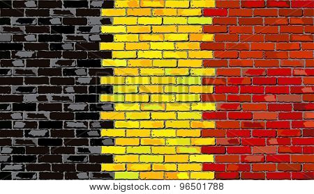 Grunge Flag Of Belgium On A Brick Wall