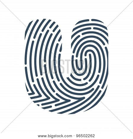 U Letter Line Logo. Vector Fingerprint Design.