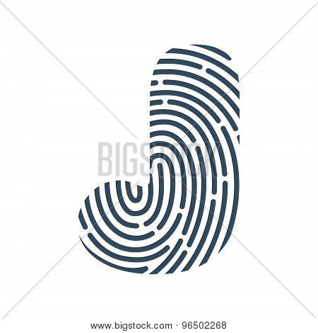 J Letter Line Logo. Vector Fingerprint Design.