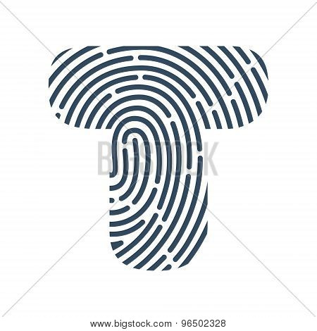 T Letter Line Logo. Vector Fingerprint Design.